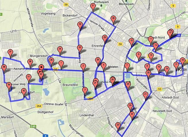 Marathonstrecke Köln